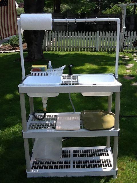 camping kitchen diy camp kitchen w/working sink [tutorial] : made from a stacking storage ZBBUVSX
